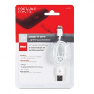 RCA Lightning-to-USB Cable 3 Foot (White)
